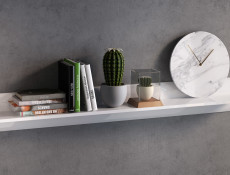 White Gloss Modern Wall Mounted Shelf Floating Small Display Panel Bookshelf 105 cm - Azteca Trio