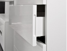 Tallboy Modern Tall Chest of Drawers White High Gloss or Oak - Azteca