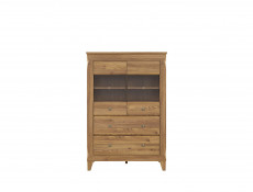 Traditional Light Oak Glass Display Cabinet Showcase Tall Storage Unit Sideboard with LED Lights - Bergen