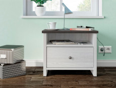 Bedside Cabinet Table White Wash Wood Effect - Porto