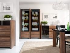 Square Cabinet Small 4 Door Sideboard in Walnut finish - Venom