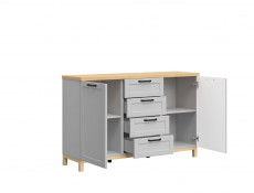 Large Scandinavian Sideboard Dresser Cabinet with Drawers Grey & Oak - Haga (KOM2D4S)