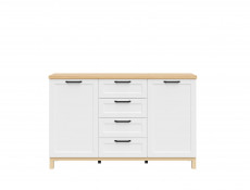 Large Scandinavian Sideboard Dresser Cabinet with Drawers White & Oak - Haga