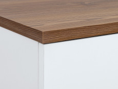 Scandi White Gloss/Walnut Finish 2-Door Sideboard Compact Chest of 3-Drawers Wooden Legs - Heda
