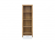 Modern Tall Bookcase Shelf Cabinet Drawer Storage Unit Oak/White Gloss - Balder