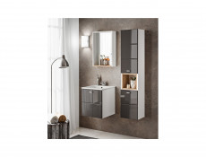 Vanity Cabinet Unit Wall Mounted Bathroom with Sink Grey Gloss - Finka