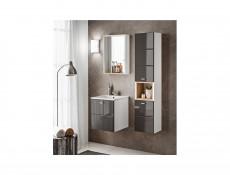 Vanity Cabinet Unit Wall Mounted Bathroom with Sink Grey Gloss - Finka (FINKA G 821 & SINK)