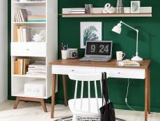 Scandinavian Wall Mounted Display Panel Floating Display Shelf White/Larch - Heda