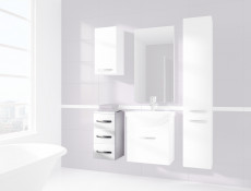Narrow Bathroom Drawer Cabinet White High Gloss / White without Worktop - Coral (STO-CORAL-D30-S/3-BI-BIP-KP01)