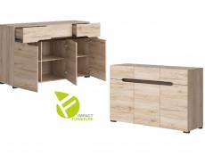 Modern Living Room Furniture Set with Storage and Display Furniture, LED Lighting in Light Oak Effect Finish - Elpasso (S314-ELPASSO_LIVING_SET_1-DSAJ/DWB)