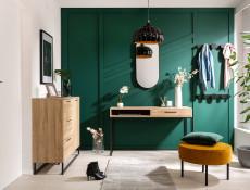 Industrial Large Sideboard Dresser Cabinet Unit with Drawers Metal Legs Light Oak Effect Finish - Gamla