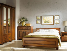 King Size Bed Classic Style Traditional Bedroom Furniture Cherry Finish - Natalia