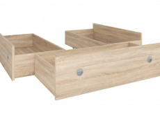 Set of Three Underbed Storage Drawers for Double Bed in Sonoma Oak Light Wood Effect Finish- Nepo