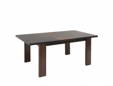 Extendable Dining Table in Brown Oak Wood Effect with Black Glass Top - Alhambra