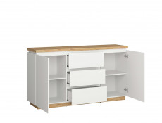 Modern White Gloss / Oak finish Sideboard Cabinet Dresser Unit with Drawers - Erla