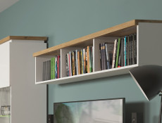 Modern White Gloss & Oak finish Wall Mounted Display Open Cabinet Shelf Panel Unit 158cm - Erla
