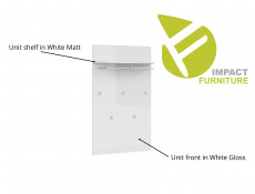 Wall Mounted Panel in White High Gloss with Shelf, Hanging Rail and 5 Hooks - Azteca Trio