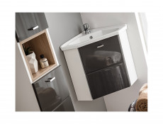 Vanity Cabinet Corner Unit Wall Mounted Bathroom White Matt/Grey Gloss - Finka (FINKA_824_GREY)
