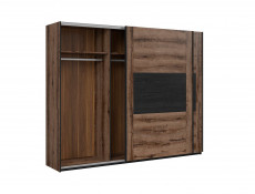 Elegant Large Sliding Door Wardrobe Hanging Rail Bedroom Storage Unit Oak/Black - Kassel (L99-SZF/270-DMON/DCA)