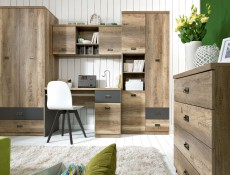 Urban Tall Bookcase Deep Storage Shelving Unit with Drawers Oak/Grey - Malcolm