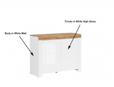 Scandinavian Small Sideboard Storage Cabinet 2-Door Unit White Gloss/Oak - Holten