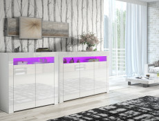White High Gloss Sideboards Multicolour RGB LED Light Set of 2 Cabinets Display Units - Lily (HOF-LILY3D-LILY2D-BI/BIP-LED-RGB)