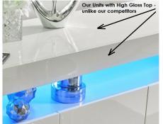 Modern White Gloss Glass Display Cabinet Shelving Unit with RGB Multicolour LED Lights - Lily (HOF-LILY-1D_BI-BIP-KP01+RGB-CLIP(2))
