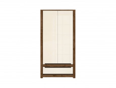 Modern Double Wardrobe 2 Doors 1 Drawer in Cream Gloss and Dark Oak - Ruso