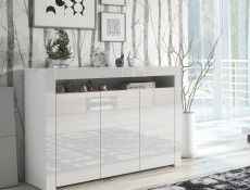 Large White High Gloss Sideboard Modern 3 Door Unit with Display Cabinet Shelf - Lily (HOF-LILY-3D_BI-BIP-KP01)