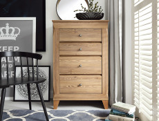 Traditional Light Oak Narrow Tall Chest of 4 Drawers Tallboy Dresser Storage Unit - Bergen