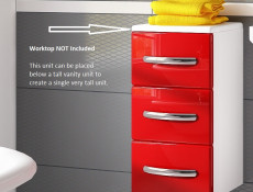 Worktop for covering up Bathroom 30cm wide Drawer Cabinet or 1 Door Unit - Coral