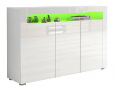White High Gloss Sideboards Multicolour RGB LED Light Set of 2 Cabinets Display Units - Lily