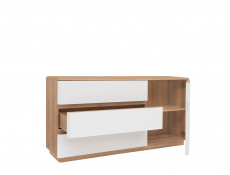 Large Sideboard Storage Cabinet 3 Drawers 1 Door in White and Oak finish  - Braga (S348-KOM1D3S/DRI/BI)