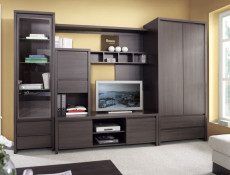 Two Door Wardrobe Dark Wood Wenge with Drawers - Kaspian (S128-SZF2D2S-WE/WE-KPL01)