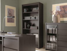 Modern Bookcase Shelf Cabinet Tall Shelving Unit Wenge Brown - Kaspian (S128-REG/90-WE-KPL01)