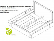 Modern King Size Bed Frame in Somona Oak with Solid Wood Bed Slats, 2 Underbed drawers storage  - Kaspian (S128-LOZ/160/T+WKLAD+2X-SZU/160-DSO/DSO-KPL01)