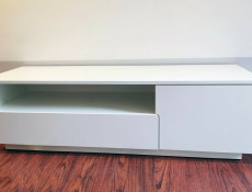 Modern White Gloss TV Cabinet Stand Media Entertainment Unit with Drawer - Muza