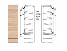 Modern Tall Shelving 1-Door Cabinet with 2 Drawers Storage Unit in Sonoma Oak - Academica (S324-REG1D2S-DSO-KPL02)