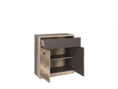 Cabinet in Oak finish and Grey - Malcolm (KOM2D1S)