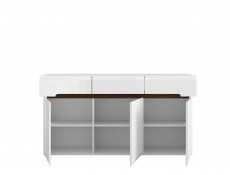 White High Gloss Glass Tall Display Cabinet and Large Sideboard Living Room Furniture Set with LED Lights - Azteca Trio