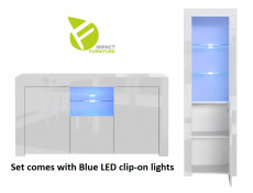 Modern White High Gloss Blue LED Furniture Set: Sideboard / Lowboard & Tall Bookcase Glass Display Cabinet - Lily