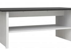 Scandinavian Shabby Chic White Wash Wood Effect Rectangular 116cm Coffee Table with Dark Wood Effect Top - Porto