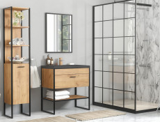 Modern Industrial Loft Bathroom Furniture Set Tall Cabinet Shelving & Sink Unit Oak Black Metal Frame - Brooklin