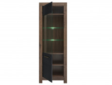 Modern Tall Glass Display Cabinet Showcase Storage Unit LED Lights Oak/Black - Balin