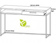 Industrial Narrow Console Hallway Table Sideboard with Drawer Metal Legs Light Oak Effect Finish - Gamla (L79-TOL1S-GOK-KPL01)