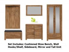 Modern Hallway Set: Mirror Unit, Shoe Bench Seat, Compact Sideboard, Mirror and Wall Hooks Medium Oak Effect - Gent (M244-GENT-HALL-SET1)