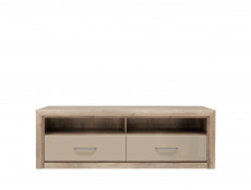 TV Cabinet Stand 2 Drawer Unit in Beige Gloss and Oak finish - Koen 2