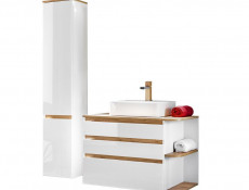 Modern Wall Hung Tall Bathroom Cabinet Storage Tallboy Unit White Gloss Oak - Platinum