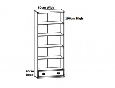 Modern Tall Wide Bookcase 4 Shelf Cabinet Shelving Unit with 1 Drawer in Dark Oak Effect - Indiana (S31-JREG1so/80-DSU-KPL01)