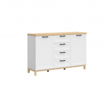 Scandinavian Large 2-Door Sideboard Storage Cabinet Unit 4 Drawers 150 cm Soft Closing White/Oak - Haga